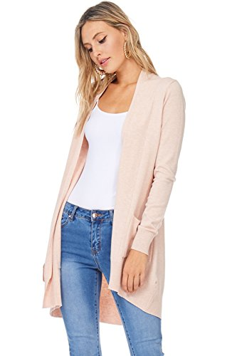 Alexander + David Women's Basic Open Front Long Sleeved Soft Knit Cardigan Sweater Lightweight with Pockets (Blush, Small/Medium)