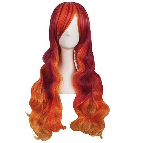 MapofBeauty 28 Inch/70cm Beautiful Long Wavy Harajuku Style Cosplay Wig (Fluorescent Orange/Blood Red/Orange Yellow)
