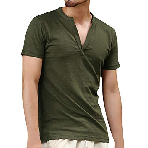 BOLANQ Kurzarm Hemden Herren, Herren Vintage Baggy Baumwolle Leinen Solide Kurzarm Retro T Shirts Tops Bluse(XX-Large,Armeegrün)