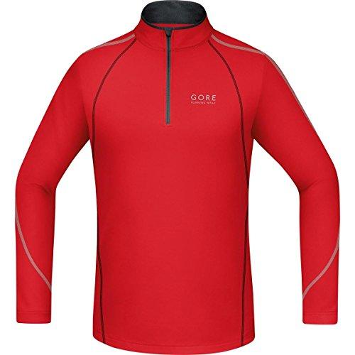 Gore Running Wear, Uomo, Corsa, Maglia a Maniche Lunghe, Gore Selected Fabrics, Essential Zip Shirt Long, Taglia L, Rosso/Nero, SSMESS359905