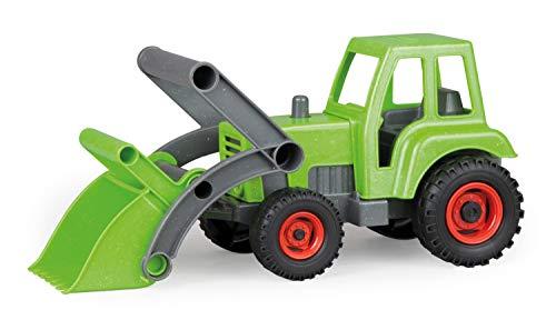 Lena 04213 - EcoAktives Traktor mit Frontschaufel, ca. 35 cm, Spielfahrzeug für Kinder ab 2 Jahre, robuster Trecker mit Griff und beweglicher Ladeschaufel, natürlicher Holzgeruch durch Holzanteil