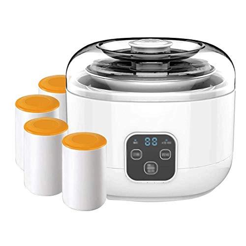 SCJ EIN-Knopf-Mikrocomputer-Timing-Joghurtmaschine, Edelstahlliner + 4 Porzellantassenkombination, LCD-Touchscreen-Steuerung, 1 Liter großes Fassungsvermögen