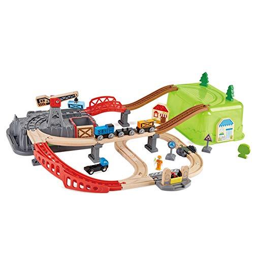 LYY Spaß Interaktiv Kleiner Zugspur Stadttransportlagerung, Kinderpädagogs, Holz-Elektroauto mit Auto-Set, Spaßspielzeug (ohne Batterie) Die Beste Wahl für Kinder