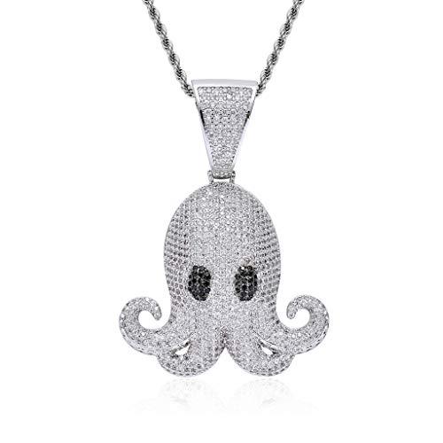 Punk hanger halsketting voor mannen, Octopus met zonnebril Fashion Creative 2019 New Ti Steel CZ stenen sieraden, verjaardagscadeau van de liefde en de vrede, voor Street Dancer & Rapper