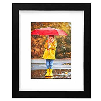OhGeni 8 x 10 Picture Frame with 5 x 7 Mat for Home Decor Sturdy Photo Frame Made of Solid Wood Black Frame with Clear Plexiglass