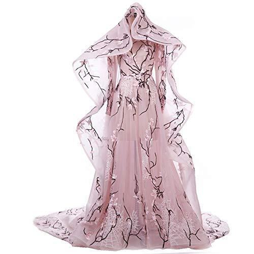 HIN GU - Wedding dress Hochzeitskleid Echte Fotos rosa Haute Couture Zwei Stücke durchschauen eine Linie Abendkleider mit Langen Ärmeln floraler Spitze Kleid mit langem Umhang (Color, US Size : 6)