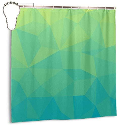 Yuanmeiju Abstract Geometric Gradient Pattern Green and Strong Cyan Duschvorhang Waterproof Polyester DuschvorhangResistant Anti Mould Bathroom Duschvorhang Hooks with 12pcs 180x180cm