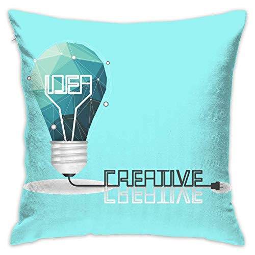 FPDecor Funda de Almohada, Pillow Cover 18'X18' Inch Light Bulb Pillowcase Square Throw Case Cushion for Sofa Decorative