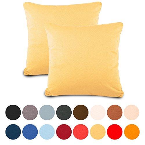 aqua-textil Classic Line Kissenbezug 2er-Set 50 x 50 cm Creme gelb Baumwolle Dekokissen Bezug Reißverschluss Jersey Kissenhülle