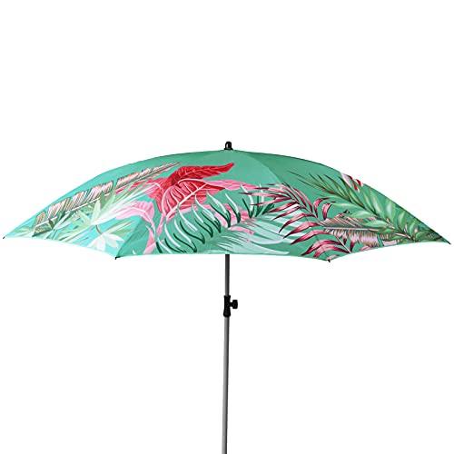 TW24 Sonnenschirm Tropical Ø 180 cm mit Farbwahl Strandschirm knickbar UV 40+ Sonnenschutz Gartenschirm verstellbar Schirm Terrassenschirm (Grün)