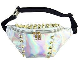 Drasawee Hologram Laser Pu Leather Fanny Pack Bum Bag Purse Waist Bag