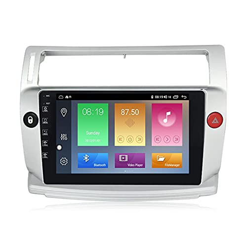 KLL Android10.0 Car Radio Navegación GPS para Citroen C4 2004-2014 2.5D IPS Pantalla táctil FM Radio Pantalla Dividida Enlace Espejo Controles del Volante+Cámara Trasera