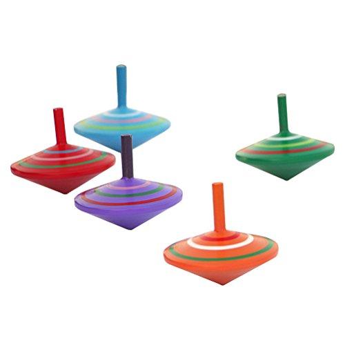 TOYMYTOY Trottola giocattolo di legno giocattoli educativi per bambini (Colore casuale) (5 Pezzi)