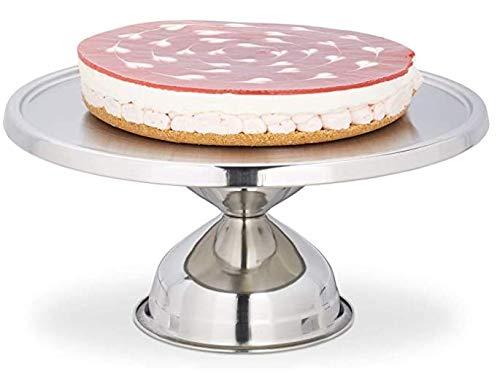 Geoffrey Tortenplatte, aus Edelstahl, rund, mit Fuß, zum Servieren & Dekorieren, Kuchenplatte, HxD: 15x32,5 cm, Silber
