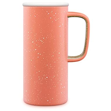 Ello Campy Vacuum-Insulated Stainless Steel Travel Mug, Georgia Peach, 18 oz