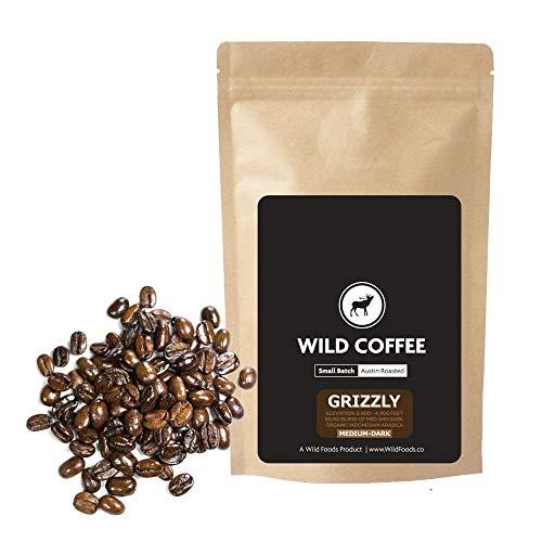 Wild Coffee, Whole Bean Organic Coffee, Fair Trade, Single-Origin, 100% Arabica, Austin Fresh Roasted (Grizzly Blend, 12 ounce)