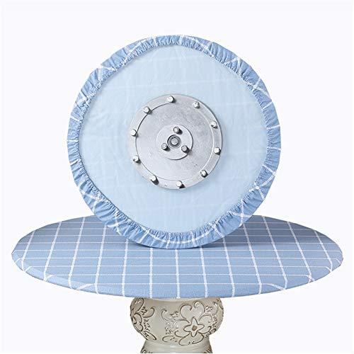 SYLC Mantel redondo impermeable antideslizante, mantel redondo para mesa circular, protector de mesa redondo resistente al calor y se limpia con un paño (rejilla azul grande, 120 cm)