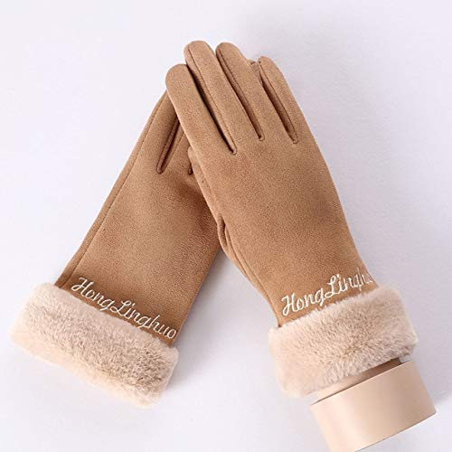 GUANAI Guante Sweet Lady Embroidery Letter Gloves Warm Winter Plush Faux Fur Mittens Guantes De Mujer con Encanto Dedos