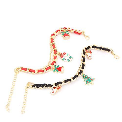 2 stks kerst armband, leuke kerstboom santa hanger ketting verstelbare pols sieraden decoratie vrouwen meisje party sieraden gift
