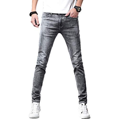 Jeans para Hombres Summer Stretch All-Match Casual Jeans Tendencia Europea y Americana Slim Fashion Tapered Jeans 33W