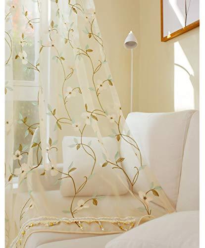 Cortinas bordadas de flores Translucida de Dormitorio Moderno Ventana Visillos Paneles,pantalla de ventana suave/Transpirable,Cortinas de tul de hotel,para el balcón de la sala de estar,1pcs
