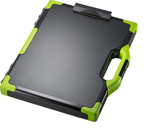 Officemate OIC Carry All Clipboard Storage Box, Letter/Legal Size, Black & Green (83325)