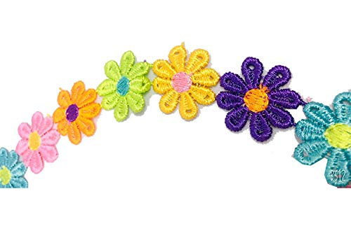 Rainbow Flower lace choker necklace , Lace Choker Necklaces, Colorful flowers , Girls choker necklace kids, Floral Elastic Stretch Lace Choker for Teen, Girls, Baby ,Women