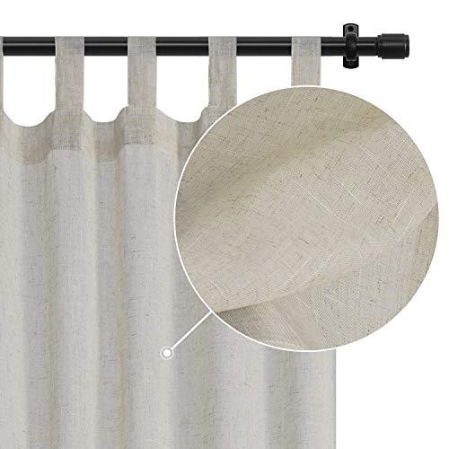 Rose Home Fashion Sheer Curtains Natural Linen Curtains Semi-Sheer Tab Top Drapes for Living Room & Bedroom, Burlap Curtains-Set of 2 Panels(50x84 Natural)