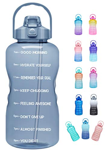 Venture Pal Large Half Gallon/64oz Motivational Water Bottle with Time Marker & Straw,Leakproof Tritan BPA Free Water Jug,Ensure You Drink Enough Water Daily for Fitness,Gym.Sports-Gray
