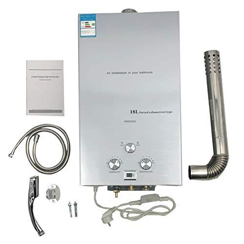 TABODD 18L 36KW Erdgas Durchlauferhitzer Warmwasserbereiter Durchlauferhitzer mit Regenduschkopf und Duschschlauch...