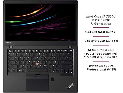 Lenovo ThinkPad T470s Business Notebook Intel i7 2.7 GHz Prozessor 8 GB Arbeitsspeicher 256 GB SSD 14 Zoll Display Full HD 1920x1080 IPS Windows 10 Pro 1920 (generalüberholt)
