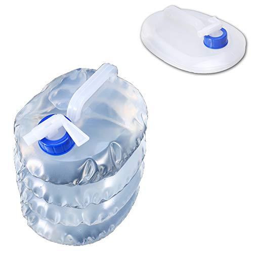 LYJNBB Envase de Agua Plegable de 5 litros 2 Paquetes, portadores portátiles no tóxicos sin BPA para caravanas Camping Escalada Viajes Senderismo Caza, Actividades al Aire Libre Cubo