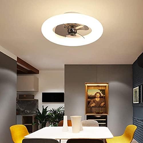 DULG Ventilador de Techo LED Reversible, 6 velocidades, Ventilador de Techo para Dormitorio, luz con candelabro Remoto, Moderno Ventilador Invisible, Ventilador de Techo con Temporizador Regulable de