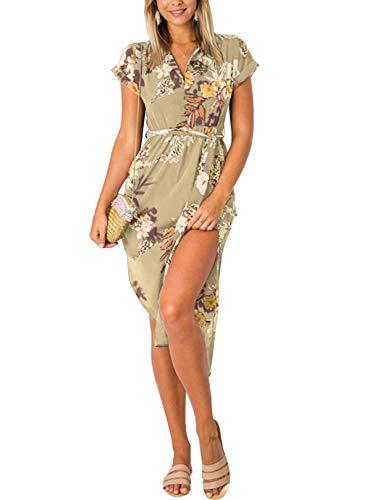 YOINS Sommerkleid Damen Lang V-Ausschnitt Maxikleider für Damen Kleider Strandkleid Strandmode Blumen-Khaki S