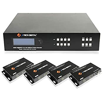 J-Tech Digital HDBaseT HDMI2.0 4x4 Matrix Extender Switcher Supports HDCP 2.2 4K 60Hz 4 4 4 HDR Dolby Vison with 4 PoC Receivers Over Single Cat5e/6 Cable [JTECH-MXT40]