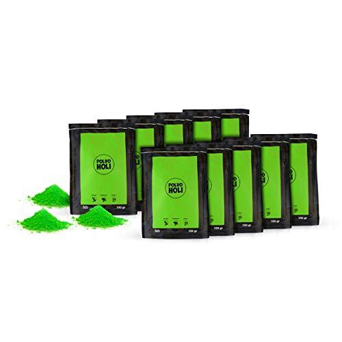 POLVO HOLI - Paket 10 Beutel Holi Pulver von 100 Gramm - 1 Kg Holi-Pulver (Grün)