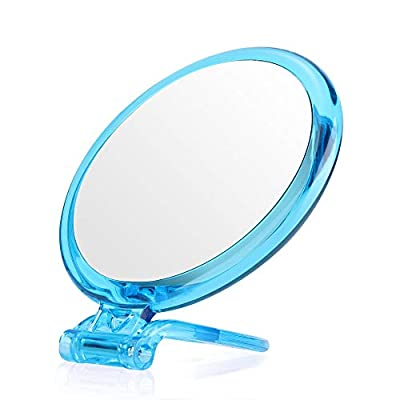 5Inches 20X Magnifying Mirror &Slant Tip and Pointed Eyebrow Tweezer Set,Perfect for Precise Makeup Application for Facial Hair, Blackhead and Tick Remover. (with Stand, Blue)