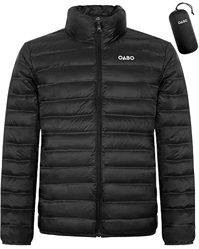 OASO Men's Packable Lightweight Down Jacket Winter Water and Wind-Resistant Breathable Puffer Coat