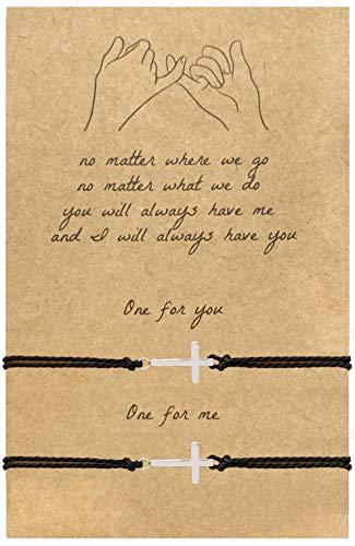 4 Piece Couples Bracelets for Boyfriend and Girlfriend Sunflower Friendship Long Distance Matching Bracelets for Best Friends (Cross)