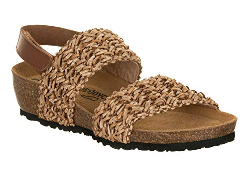 JOE N JOYCE | Singapur Bast Damen Sandale | Sommerschuhe mit Komfort-Fußbett | Beige 37 EU Schmal