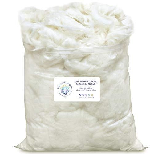 SUPER CLEAN WOOL FILLER for Stuffing, Needle Felting, Blending and Dryer Balls - 5 LB Bag, Natural White