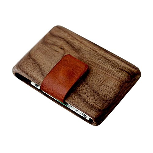 Wood Wallet, Walnut Wood w/Leather Pull-Out Strap by Haydanhuya