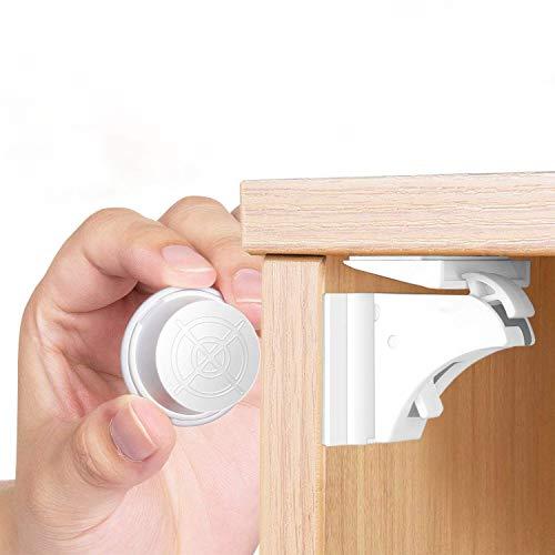 Magnetische Kindersicherung Schrankschloss | 10 Schlösser mit 2 Schlüssel | WoZon Baby Sicherheit Unsichtbare Schubladensicherung | Kindersicherung für Küchen