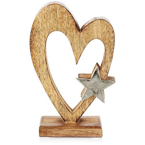 com-four® Premium Support de décoration cœur - Coeur déco en Bois de manguier avec étoile en métal - décoration de Coeur avec Socle à Poser - Accessoire de Maison (Coeur avec étoile)