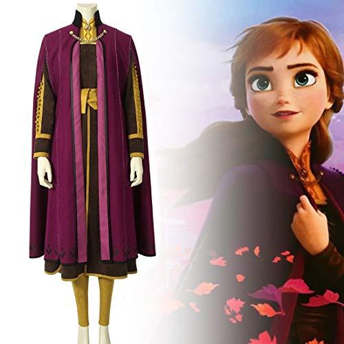Rubyonly Prinzessin Anna Kostüm Cosplay Abendkleid-EIS-Schnee-Königin-Mädchen-Kleid-Mantel Carvinal Outfit,XXXL