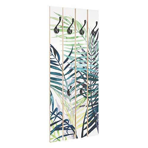 Bilderwelten Perchero de Madera Follaje Exótico - Palm Tree - Ganchos Negros 100x40 cm