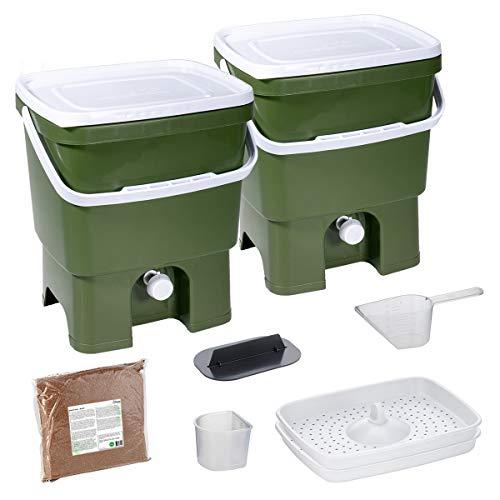 Skaza Bokashi Organko Set (2 x 16 L) Composteur 2X pour Jardin et Cuisine en Plastique Recyclé | Kit de démarrage avec Activateur de Fermentation Bokashi Organko 1 kg (Olive-Blanc)