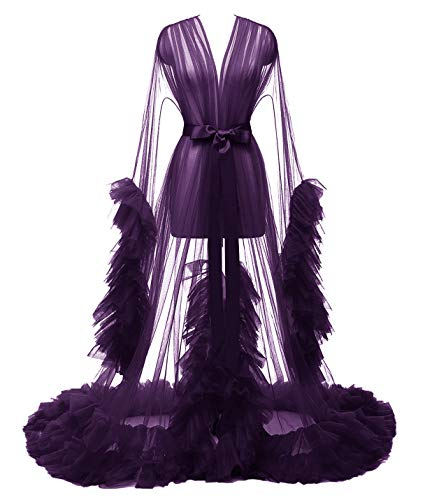 Yexinbridal Bridal Tulle Robe Sheer Dressing Gown Sexy Illusion Puffy Lingerie Long Wedding Scarf Pregnancy Photoshoot Plum XXXL