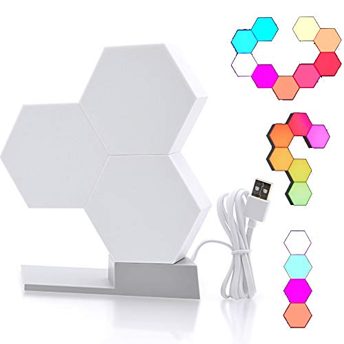 OurLeeme LED-lichtpanelen, intelligente LED-lichtpanelen, smartphone-afstandsbediening met kleurverandering, RGB compatibel met Alexa Google Home (1 stuk zonder basis)