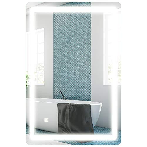 COSTWAY Espejo con Iluminación LED de Baño Espejo de Pared con Luz para Mauillaje Afeitado (100 x 60 cm)